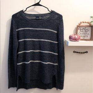 Blue / Saks Fifth Ave Blue Striped Sweater w Olive